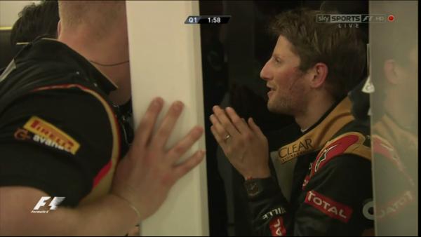 Grosjean luego de la Q1. Foto: Sky Sports F1.